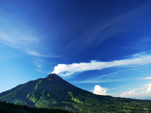 Mount Merapi, view from Bentrokan village (Mt. Merbabu)