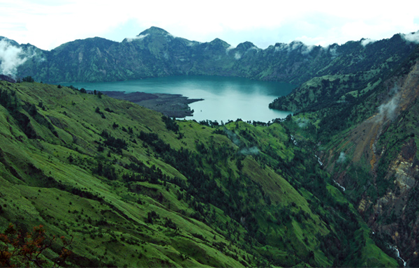 Rinjani National Park - Segara Anak Lake, Closer View from Plawangan Sembalun
