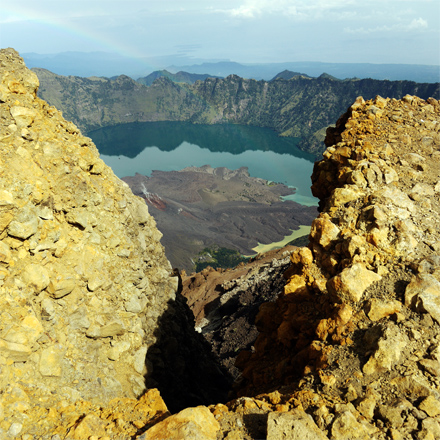 Rinjani National Park - Segara Anak Lake And Mount Baru Jari, Slit View
