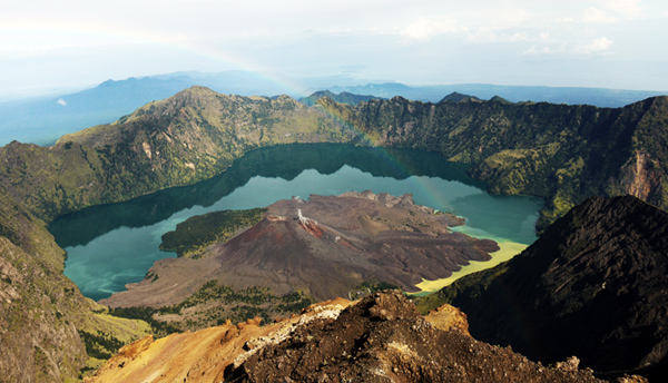 Rinjani National Park - Rainbow Over The Lake/Crater