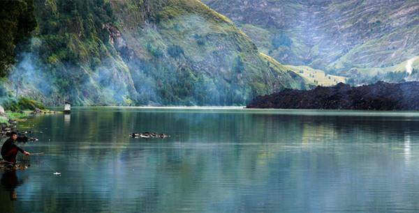 Rinjani National Park - Fishing At Segara Anak Lake