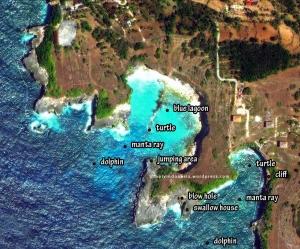 Peta Ceningan Jumping Cliff dalam skala lebih detail