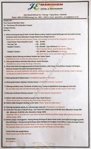 Aturan Tertulis Bagi Pengunjung Hotel JE Meridien