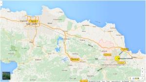 Peta Gunung Ciremai (Cerme) relatif terhadap beberapa kota dan kabupaten di sekitarnya